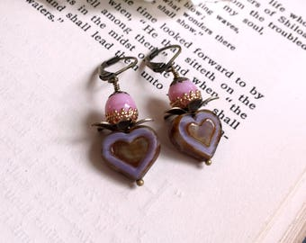 Czech glass earrings lavender heart and pink Boho chic earrings Gift under 10 Floral bead caps