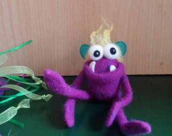 Ballerina Bug Monster, Needle Felted Wool Monster Pet, Soft Sculpture, Desk Toy