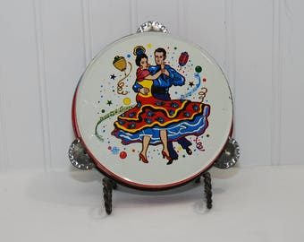 Vintage U.S. Metal Toy Mfg. Company Lithograph Flamenco Dancers Tin Tambourine (c. 1950's-60's?) Costume Party Favor Noisemaker