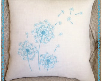 Embroidered Dandelion Clock Cushion, seed heads. feather filled, any colour, truly stunning gift