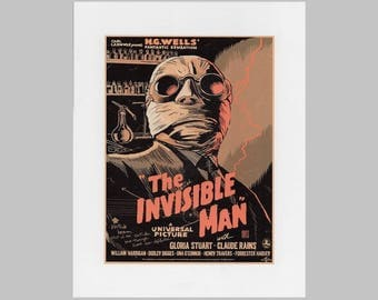 Poster advertisement on Foam board for the 1933 movie The Invisible man