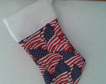 """American Flag Custom Embroidered Personalized Christmas Stocking 18"""" Military"""