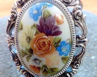 Vintage Mid Century Silver Tone Porcelain Floral Scarf Dress Clip