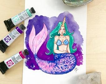 Unicorn Mermaid - Watercolor Illustration Print