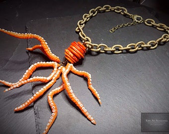 Funky Orange Octopus Necklace, Sea Life, Nautical Necklace, Kraken Pendant, Chunky Statement Necklace, Sea Animal, Tentacle Jewelry, Gift