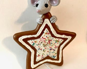 Mouse/Mouse on a star/Star ornament/Mouse ornament/Christmas Ornament/Christmas Decoration
