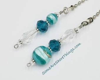 Light and Ceiling Fan Pull Chain Set.  Teal Color Home Decor. Glass Beaded Pull Chains.  Bedroom Kitchen Dining Room Den Office.