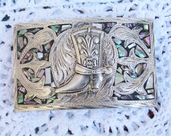 Vintage Western Horse Shoe & Cowboy Boot Plata Jalisco 925 Sterling Silver Belt Buckle Ornate with Abalone Inlay 64.5 Grams