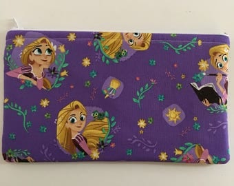 Disney-Inspired Tangled Rapunzel Handmade Fabric Large Zipper Pouch/Cosmetic Bag