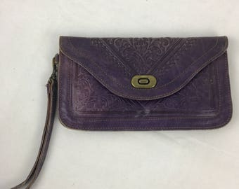 Distressed Purple Leather Clutch with wrist strap