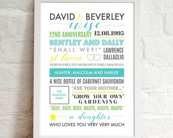 Personalised Printable Wall Art . . . Perfect For Any Special Occasion . Modern Typography . Print At Home . Anniversary Gift