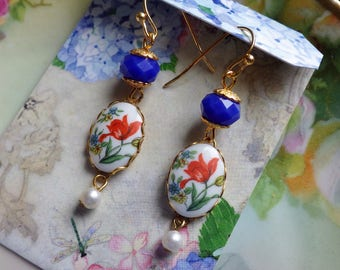 Vintage Glass ~ Tulip Earrings ~ Red Blue Earrings ~ Dangle Earrings