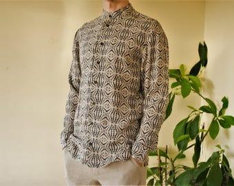 Natural linen with print handmade men's shirt.
