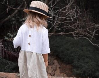 Linen/ double gauze girls dress / two tone childrens dress / heirloom dress