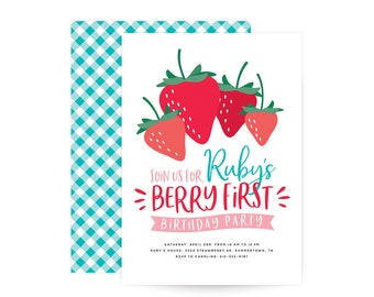Berry Sweet Birthday Invitation - strawberry, berry theme