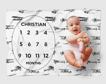 Personalized Monthly Milestone Baby Blanket - vintage airplane baby blanket, customized, baby boy gift