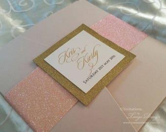 Rose Gold GLITTER Invitation | Blush U0026 Gold Invite Set | Pink Glittery  Invitation Suite |