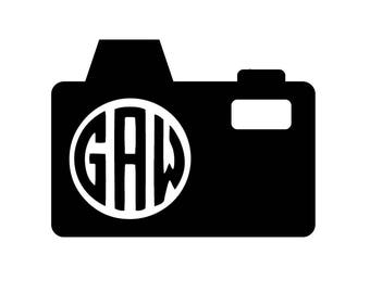 Camera Decal - Photographer Gift - Monogram Vinyl Decal - Phone Decal - Decal with Initials - Wall Art - Home Decor - Personalized Decal