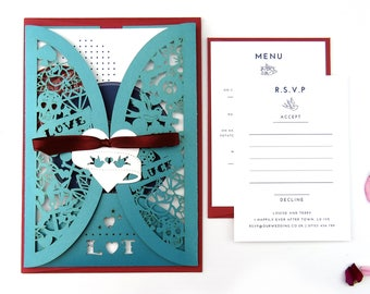Laser cut wedding invitation jacket, Wedding stationery suite - Rockabilly wedding, Alternative invitation, Retro 50s wedding, Psychobilly