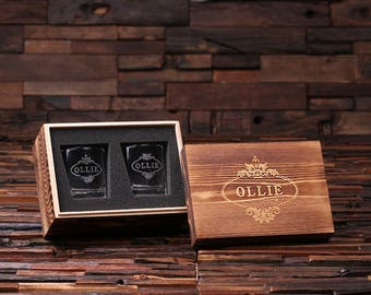 Personalized Whiskey Scotch Glass Set with Wood Box Gift for Men, Groomsmen, Father's and Dad (024955)