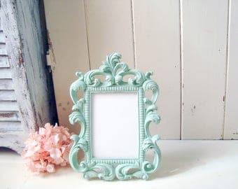Mint Green Ornate 5 x 7 Picture Frame, Wedding Table Number Frame, Easel Back Vintage Style Picture Frame, Pastel Green Frame, Gift Ideas