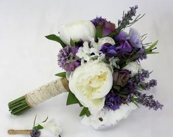 ON SALE Peony and Rose Purple & White Lavender Rustic Bridal Bouquet with Groom's Buttonhole - Keepsake Peony Bridal Bouquet