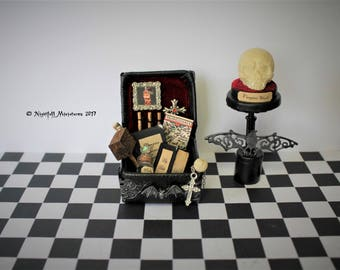 Dollhouse Miniature Gothic Spooky Vampire Hunter Slayer Trunk and Vampire Skull Trophy in 1:12 scale