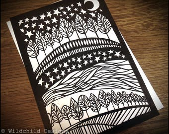 Scenic Starry Night Paper Cutting Template for Personal or Commercial Use Papercutting Cut by Wildchild Designs Ideal for a Beginner Moon