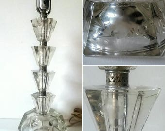 Vintage Etched Crystal Glass Table Lamp Boudoir or Table Lamp 1940's Era