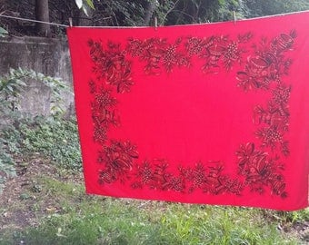 Red MCM Christmas Tablecloth  Golden Bells Pinecone Design