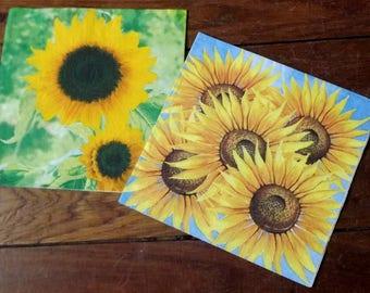 2 sunflowers paper napkins