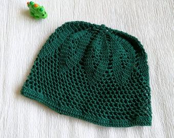 Green sun hat for baby, sun beanie, light baby hat