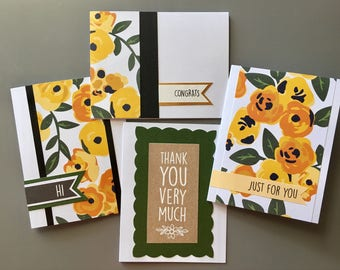 Blank cards, blank cards with envelopes set of four, handmade cards, notecard set, thank you card, Kai Collection