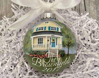 Custom House Portrait Ornament //First Home Ornament //Housewarmimg Gift// Personalized House Painting Ornament// Real Estate Agent Gift