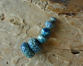 Blue-Green color ceramic beads handmade