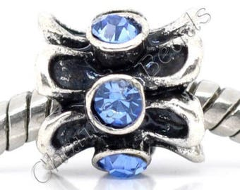 1 blue rhinestone and metal flower charm bead compatible pandor chamili