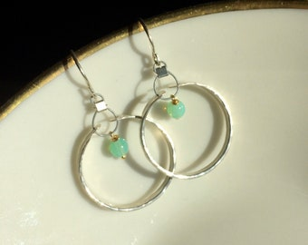 Aqua Blue Opal With Gold Vermeil Wire Wrap On Hammered Sterling Silver Earrings