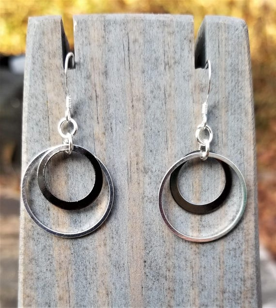 Fight Night Earrings Variations: Gunmetal & Steel Circles