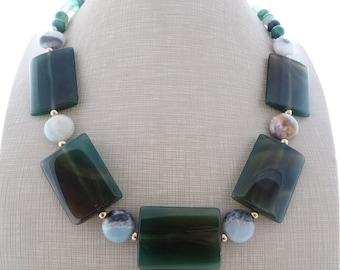 Green chunky necklace, agate necklace, amazonite necklace, big bold necklace, gemstone necklace, summer jewelry, wedding jewelry, gioielli