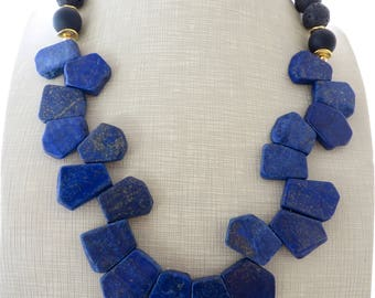 Blue lapis lazuli necklace, chunky necklace, bib necklace, black lava necklace, beaded necklace, stone choker, contemporary jewelry