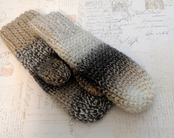 random stripes mismatch crochet mittens vegan friendly OSFM