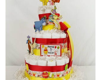 Winnie The Pooh Inspired Diaper Cake| Pooh Baby Shower| Winnie The Pooh  Centerpieces|