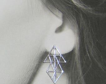 Statement Earrings, Unique Silver Jewelry, Geometric Earrings, Large Earrings, Boho Earrings, Woman's Silver Earrings, Triangle Jewelry