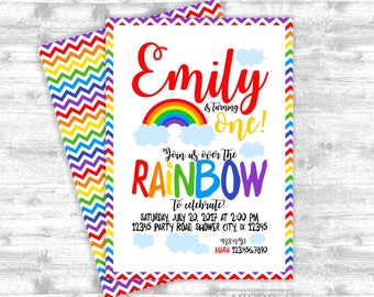 Rainbow Chevron Birthday invitation DIY Printable  (RAIN001)