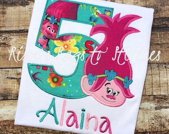 Trolls Embroidered Birthday Shirt #1-10