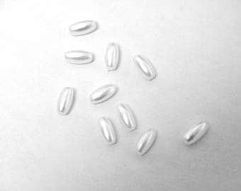 10 synthetic pearls, white rice grain, 8 x 4 mm