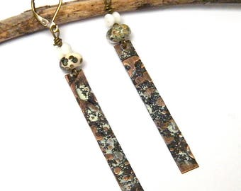 Hammered and patinated copper, rustic earrings, Lampwork beads