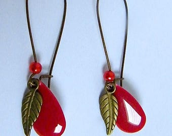Red enamel drop earrings, bronze plated brass, nice gift idea for woman