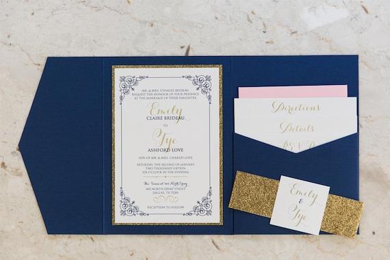 Navy Blue And Gold Wedding Invitations: 5x7 Navy Blue Gold Glitter & Blush Pocket Wedding Invitation