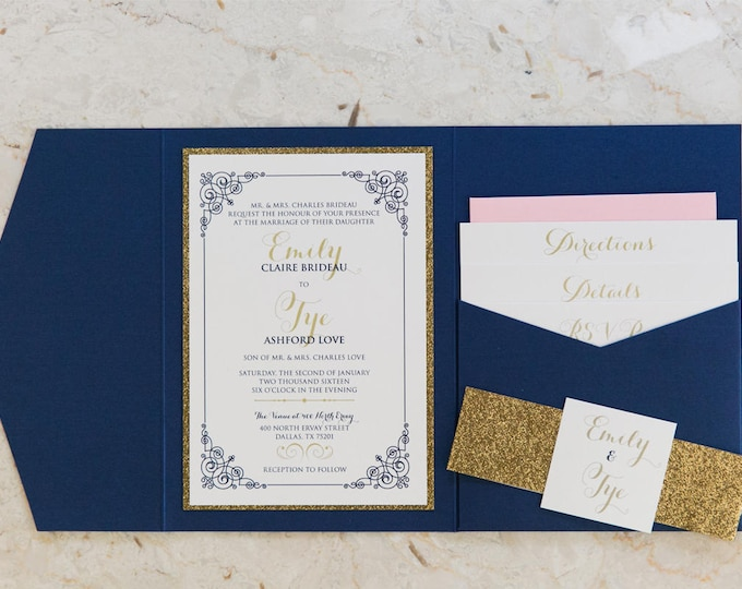 SAMPLE Navy Blue, Gold Glitter & Blush Pocket Wedding Invitation with Enclosure Band, Monogram and Inserts. Different Colors Options